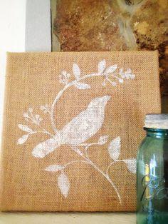 Burlap Canvas Wall Art With Bird on Branch by MelissasGlueGunShop