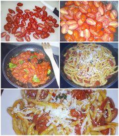 Gli strozzapreti fatti a mano con pomodori Piccadilly, basilico, Nduja e aglio di Vessalico: una ricetta facile e ottima per una cena con gli amici.