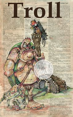 Troll - mixed media drawing on distressed, dictionary page - flying shoes art studio