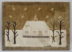 """HOUSE AND HOME"" HOOKED RUG American, last quarter 19th c. A lovely hooked rug projecting a sense of serenity and security on a cold winter night. Cotton and wool on burlap. 25"" x 35."""