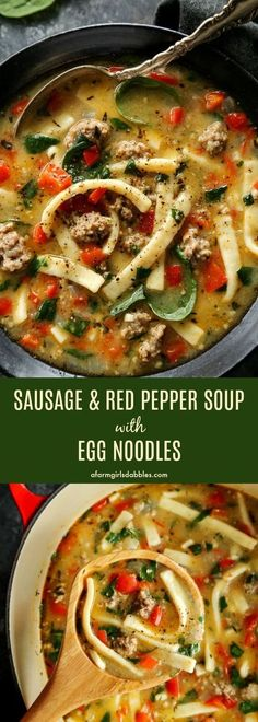 Sausage and Red Pepper Soup with Egg Noodles Wurst – und Paprikasuppe mit Eiernudeln aus afarmgirlsdabbles … Egg Noodle Recipes, Soup Recipes, Dinner Recipes, Cooking Recipes, Healthy Recipes, Reames Noodle Recipes, Recipes With Egg Noodles, Tuna Recipes, Carrot Recipes