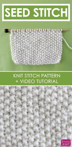 SEED STITCH PATTERN Learn EASY KNIT AND PURL STITCH PATTERNS in the Absolute Beginner Knitting Series by Studio Knit