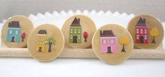 Happy Home LARGE Wooden Circle Magnets Set of 5 by JuJuBrand, $9.50