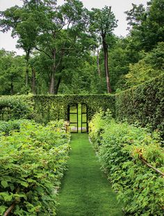 There are those doors to the garden. How chic!! Madison Cox Garden Design Via Oberto Gili for WSJ
