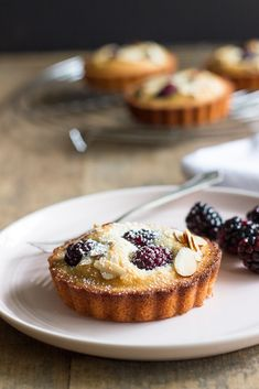 These Almond Blackberry Financier are a delicate little dessert filled with tangy blackberries!