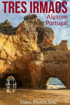 Tres Irmaos Beach in the on of the most beautiful beaches in the Algarve Portugal, especially with its double arch feature and many coves to explore! Discover in photos and Videos plus get Tips to plan your visit. | Portugal Travel Guide | Portugal Algarve | Portugal beach | Algarve Beach | Portugal things to do