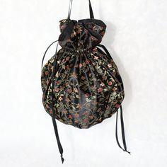 Black satin red and gold floral pattern pompadour purse evening handbag wristlet drawstring reticule by AlicesLittleRabbit on Etsy Black Satin, Black Cotton, Pompadour, Delicate, Purses, Bag, Floral, Pattern, Gold