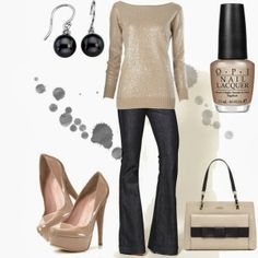 Chic Outfits | Saturday Sparkle  Sequin Sweater, 7 For All Mankind jeans, Alejandro Ingelmo shoes, Helena bag, Tahitian pearl earrings  by blue-star-marie