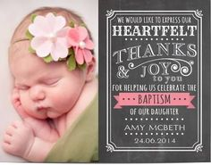 Wedding Invitations & Stationery by NellysPrint Baptism Thank You Cards, Baptism Cards, Photo Thank You Cards, Picture Cards, Baptism Pictures, Baptism Ideas, Baptisms, Card Crafts, Baby Tips