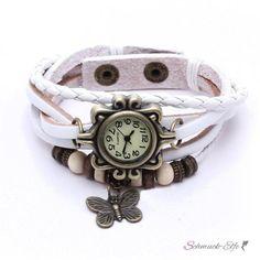 Leder Armbanduhr Schmetterling VINTAGE weiß   im Organza...