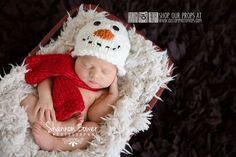 Snowman Christmas Newborn Photo Props, Holiday Hat Photography Prop, Baby Props, Newborn Prop, Photo Props, Handmade Hat, Baby Boy, Girls on Etsy, $30.00