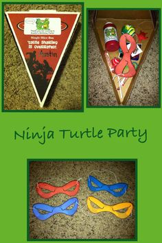 Teenage Mutant Ninja Turtles Birthday Party Favors. I used single sliced pizza boxes and filled them with a bouncy ball, TMNT tattoos, TMNT stickers, bubbles, mask, candy, snake and sea turtles. I also made labels with TMNT on them and they said COWABUNGA! Thank you for coming to my party!