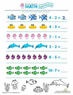Worksheets: Preschool Math: Take Away the Sea Creatures Preschool Math: Take Away the Sea Creatures offers preschoolers an easy introduction to subtraction that will have them wanting to dive right in! Math Workbook, Kindergarten Math Worksheets, Preschool Activities, Preschool Lesson Plans, Preschool Math, Montessori Math, Montessori Elementary, Subtraction Worksheets, Learning Numbers