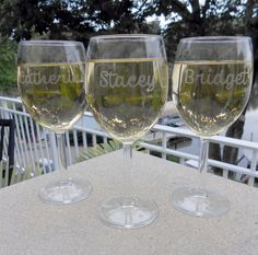 6 Personalized Wine Glasses: Laser Engraved Bridesmaid Gift, Birthday Gift, Shower Favor & More. $54.00, via Etsy.#grabadolaser #copapersonalizada