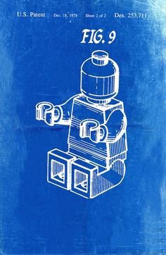 Lego Patent Blueprint Art of a Lego Figure Man by BigBlueCanoe
