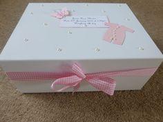Personalised memory Box New Baby Keepsake Box pink blue /boy girl Baby Shower
