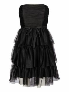 STRAPLESS CORSAGE SHORT PARTY DRESS, Black, main