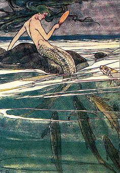 She was combing her long tresses, an illustration by Alice B. Woodward for The Story of Peter Pan, 1926