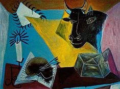 Still life with a bull's head, book and candle range - Pablo Picasso, 1938