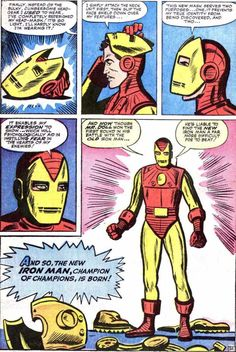 1963's Tales of Suspense #48 gave us a story by Stan Lee, Steve Ditko and Dick Ayers. Ditko's step-by-step walk-through of the armor's capabilities is a textbook example of how to integrate exposition into a story. (Original pinner notes that, with a cover by Jack Kirby, it is possible that Kirby was the designer of the new armor, but I think the design is more in keeping with Ditko's style than Kirby's.)