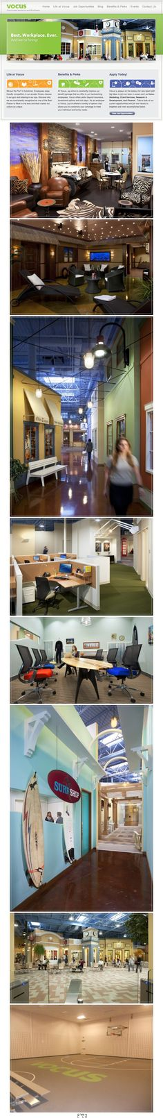 회사 빌딩안에 또다른 도시 'VOCUS' 사무실 인테리어   VOCUS는 클라우드 기반의 마케팅 및 홍보 소프트웨어를 제공한는 500명 규모의 회사입니다. VOCUS 사무실 인테리어는 마치 작은 마을을 연상케 하는데, 디자인 컨셉을 회사 빌딩안에 또다른 도시 였습니다.  그래서 타운센터, 레스토랑, 카페, 서퍼 샵등 도시 안에 있는 느낌을 주게 합니다. 또한 직원들의 상상력을 높이기 위해 활동적인 영역의 '피트니스 센터'와 조용한 영역인 '스파'도 있습니다. 미국이란 나라가 크다보니 저런 시설까지 갖출수 있다는 것이 부럽기는 하네요.