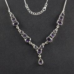 AMETHYST STONE ATTRACTIVE LOOK 925 STERLING SILVER NECKLACE #SilvexImagesIndiaPvtLtd #Necklace