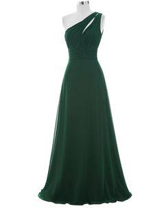 Forest Green Floor Length Chiffon A-Line Evening Dress