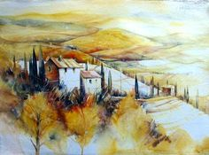 Landschaft bei San Quirico, Toskana Pen And Watercolor, Watercolor Artists, Watercolor Paintings, Ink Painting, Web Paint, Pen And Wash, Architecture Old, My Land, Art And Illustration