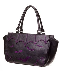 BANNED APPAREL BATS  amp  SPIDER WEBS SALEM Tote HANDBAG BLK PURPLE witch  goth wings 6780594566543