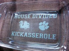 7 x 11 House Divided Kickasserole Pyrex by CharlestonEngravers