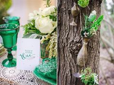 A touch of emerald green and a total melting with the nature around for this Lush Spring Boho-Vintage Wedding Inspiration Shoot from Toni Larsen Photography