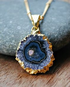 Raw Amethyst Necklace in Gold