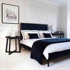 Buy the beautifully designed Boudoir Noir Luxury Navy Velvet Bed, by The French Bedroom Company. Navy Bedrooms, Blue Bedroom, Modern Bedroom, Master Bedroom, Contemporary Bedroom, Black Bedroom Furniture, Contemporary Style, Bedroom Simple, Navy Bedroom Decor