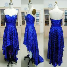 Cheap 2013 new strapless sweetheart front short long back sequined royal blue prom evening dresses