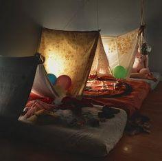 slumber/sleepover party idea - indoor tent beds made of sheets and mattresses Diy Zelt, Indoor Camping, Indoor Tents, Camping Indoors, Tent Camping, Camping Theme, Family Camping, Glamping, Cosy Camping