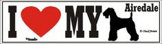 I Love My Airedale Dog Bumper Sticker available at www.DogLoverStore.com