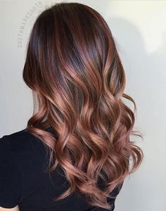 Rose Gold Balayage- Brunette. Are you looking for rose gold hair color hairstyles? See our collection full of rose gold hair color hairstyles and get inspired!
