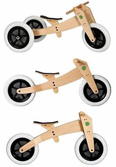 Wishbone 3-in-1 Balance Bike Plain Wood