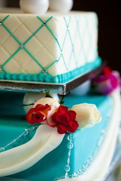White Turquoise wedding cake