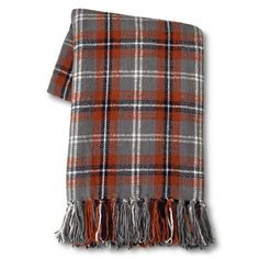 """Threshold™ Chenille Plaid Throw - Red/Gray 50""""X60"""" : Target"""