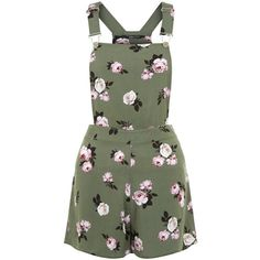 New Look Teens Green Floral Print Pinafore Playsuit ($19) ❤ liked on Polyvore featuring jumpsuits, rompers, green pattern, patterned romper, print romper, green rompers, flower print romper and floral romper