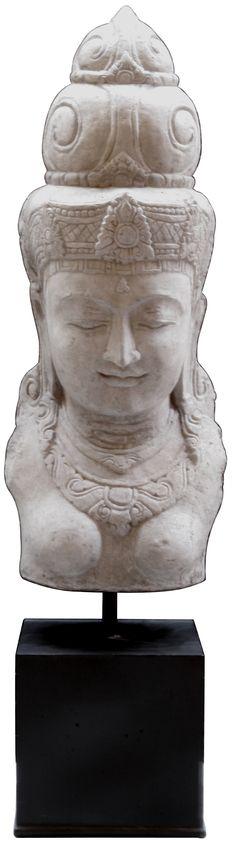 KARE Design Riesenbuddha Sarita Mit Sockel Aus Polyresin Und Naturstein Für  Innen Und Außen, Frostbeständig