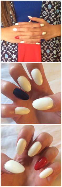 Fourth of July acrylic stiletto nails