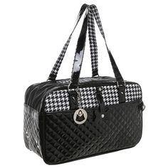 MG Collection Quilted Designer Black and White Hounds Tooth Pet Travel Tote / Soft Sided Dog and Cat Carrier * For more information, visit now : Dog Carriers and Travel Products