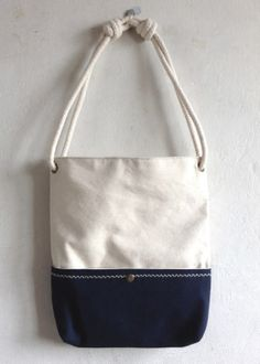 Beautiful handmade cotton bag canvasNautical by MushroomBags