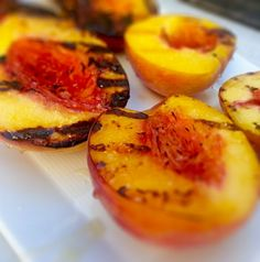 Brush peaches with vegetable oil, place on a hot grill until charred ...