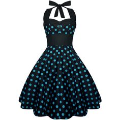 Lady Mayra Ashley Polka Dot Dress Vintage Rockabilly Pin Up 1950s... (2.895 RUB) ❤ liked on Polyvore featuring dresses, grey, women's clothing, halter prom dresses, gothic prom dresses, plus size retro dresses, plus size skater skirt and gray prom dresses