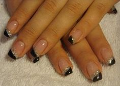 schwarz/silber schlicht Gelnägel