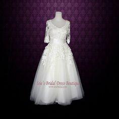 Retro Trouwjurk Thee Lengte jurk Lange Mouwen Wedding door ieie