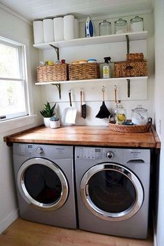 There are so many exciting small laundry room design ideas that you can apply for your small laundry room. Having a laundry room in your house is definitely a must. It ensures that you have fresh and clean clothes at… Continue Reading → Laundry Room Layouts, Laundry Room Remodel, Small Laundry Rooms, Laundry Room Organization, Laundry Room Design, Storage Organization, Storage Ideas, Laundry Shelves, Storage Shelves
